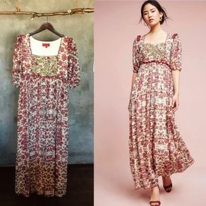 Anthropologie Embroidered Floral Maxi By Bhanuni